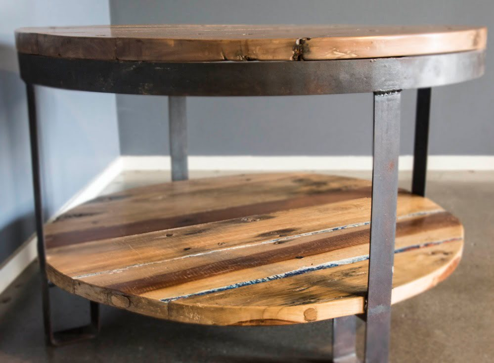 Round Coffee Table Two Shelf