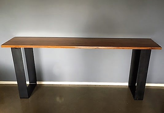 Marvelous Teak Industrial Style Console Table