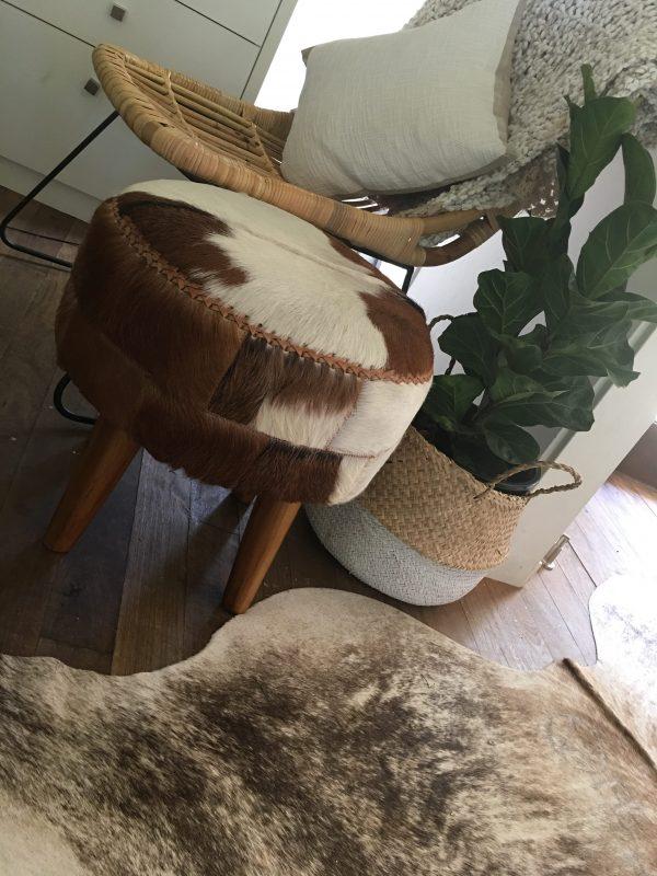 Goat Fur Footstool Ottoman Loft Furniture