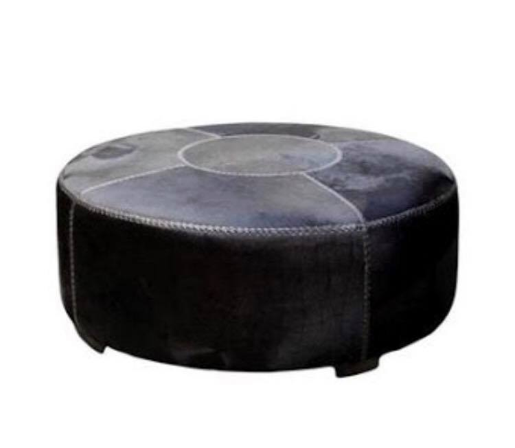 Large Round Cowhide Ottoman Black Loft Furniture