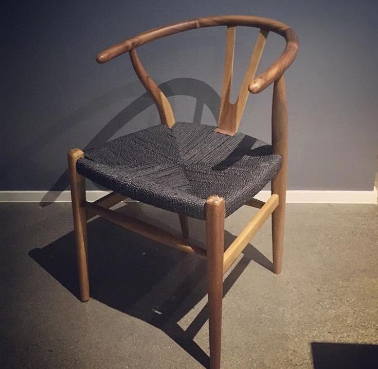 Loft Wishbone Dining Chair Teak With Black Cord Seat