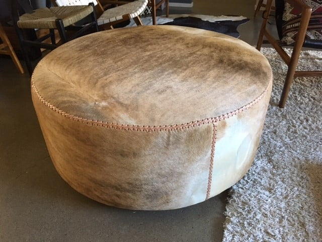 Large Round Cowhide Ottoman Latte Loft Furniture