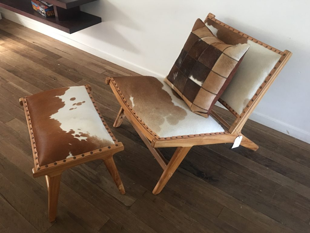 Marlborro Layback Chair And Footstool Tan And White Cowhide Loft Furniture