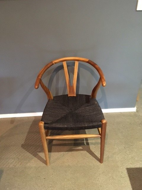 Loft Wishbone Dining Chair Teak With Black Cord Seat