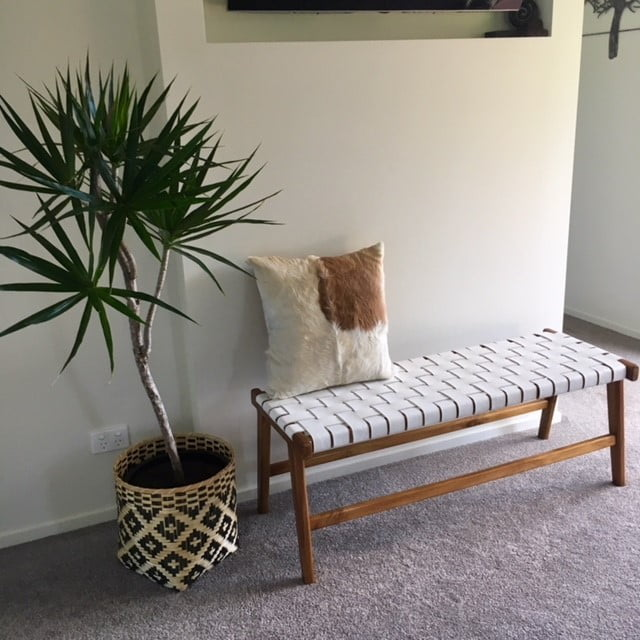 Loft Bench Seat Natural: Woven Leather Bench Seat
