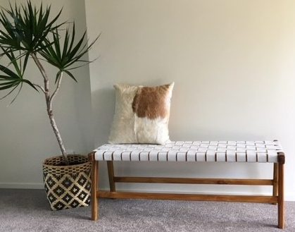 Woven Leather Bench Seat White Loft Furniture