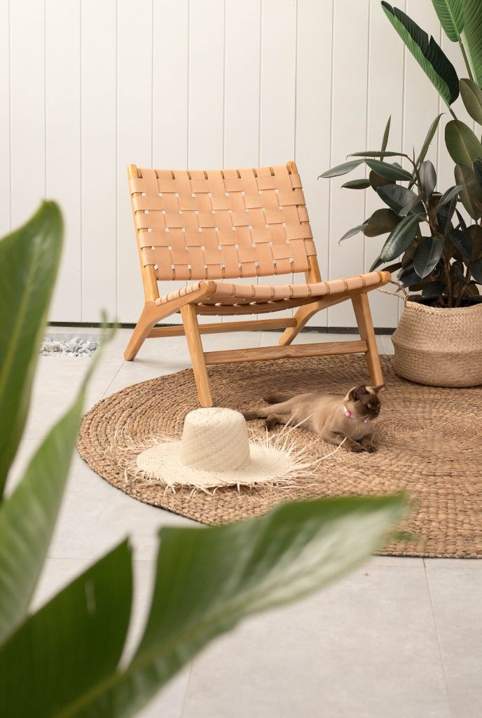 Loft Woven Leather Layback With Footstool Nude Loft