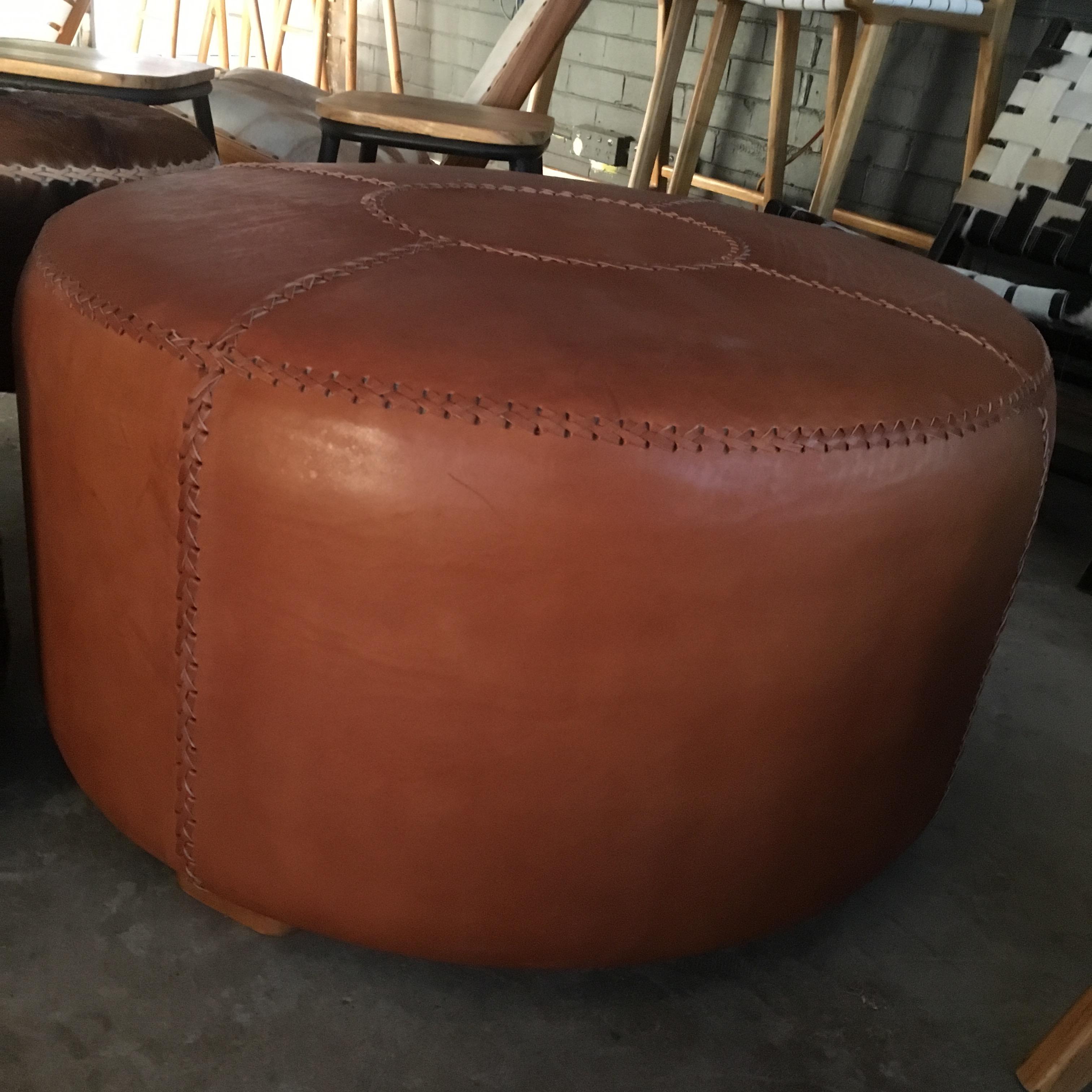 Loft All Leather Round Ottoman Loft Furniture
