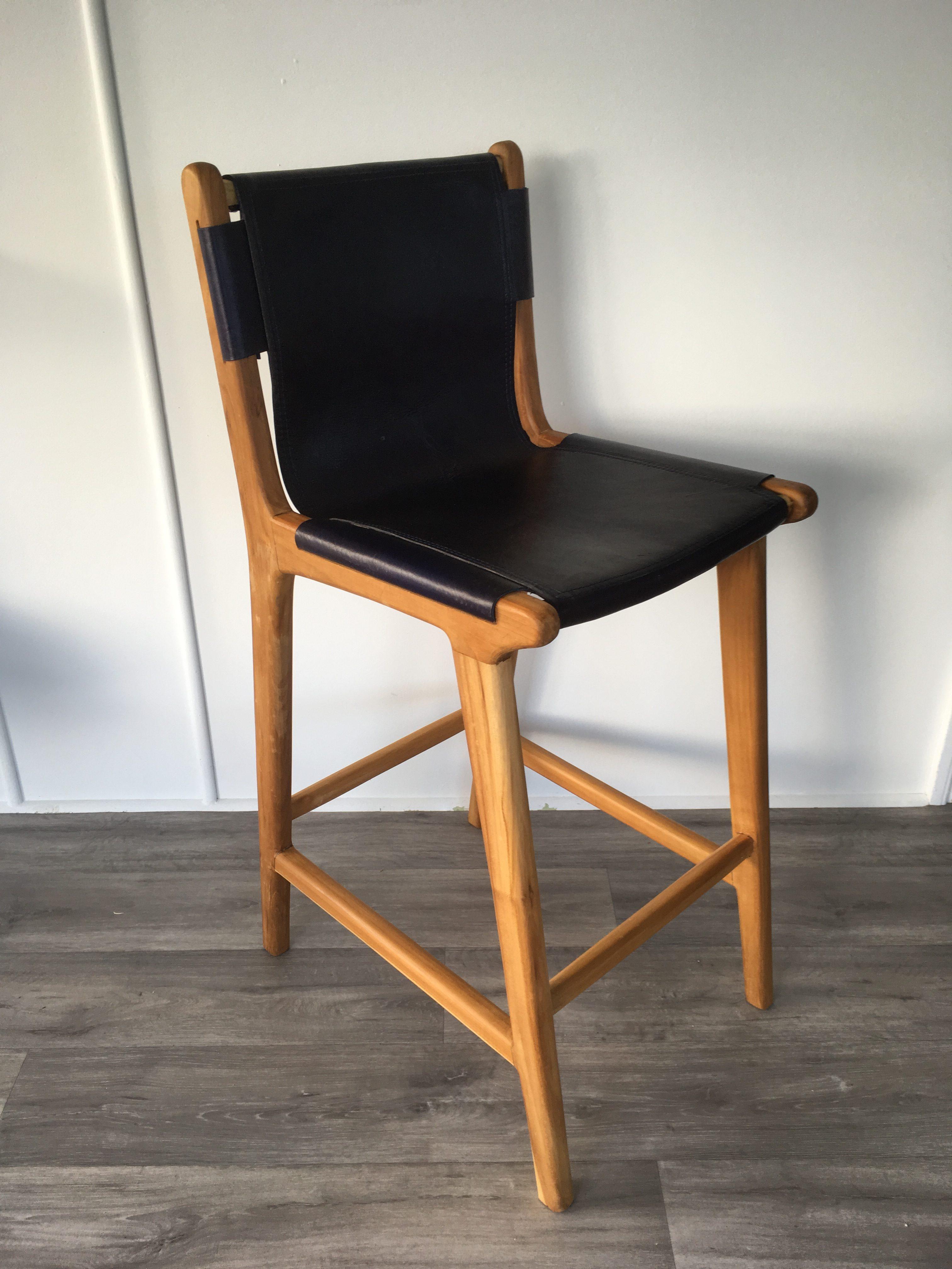 Admirable Loft Leather Sling Bar Stool Indigo Machost Co Dining Chair Design Ideas Machostcouk