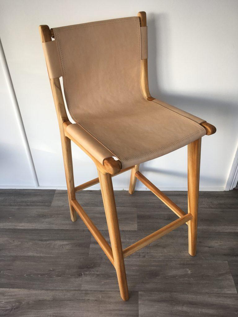 Loft Leather Sling Bar Stool Blush Loft Furniture
