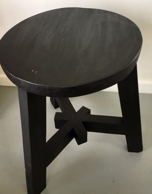 Stool Bedside Table: LOFT All Black Teak Dining Stool/ Bedside/ Side Table