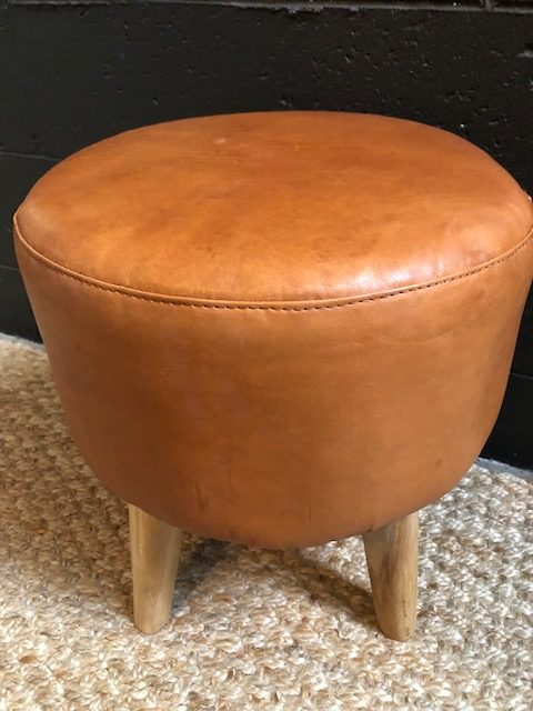 Loft All Leather Footstool Tan Loft Furniture